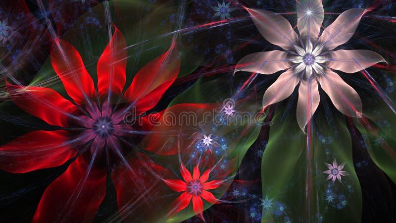 Mooie moderne bloemachtergrond in het glanzen rode, blauwe, groene, roze, zilveren kleuren royalty-vrije illustratie