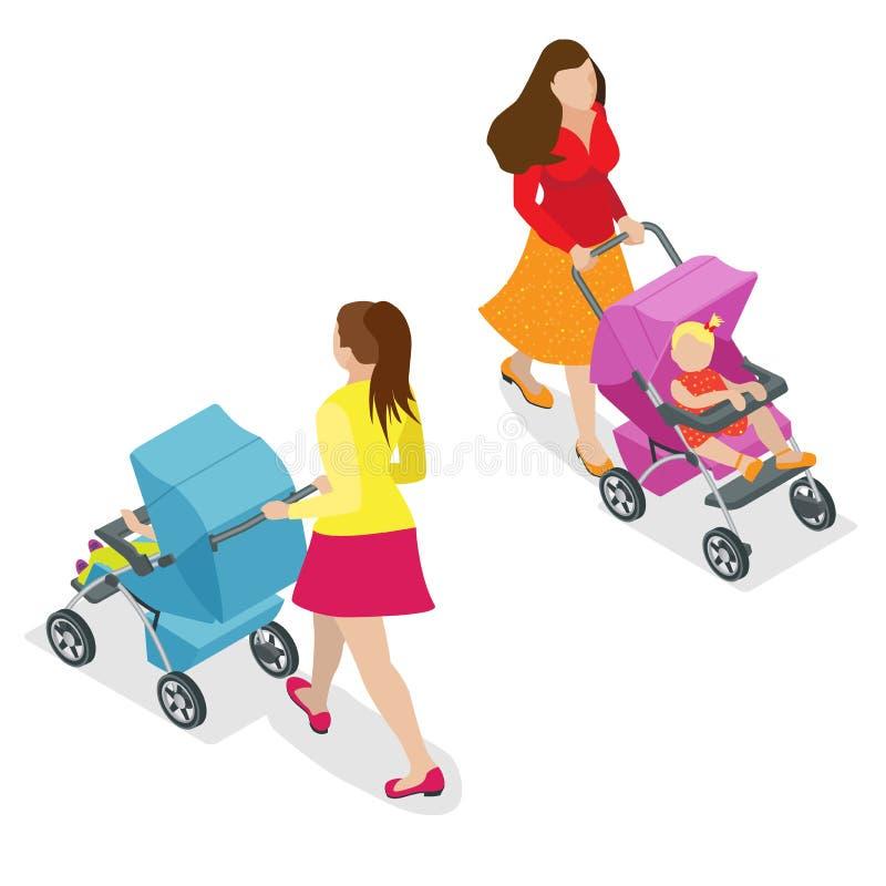 Mooie moeder bij het lopen met baby in wandelwagen Isometrische 3d vectorillustratie Vrouw met baby en geïsoleerde kinderwagen vector illustratie