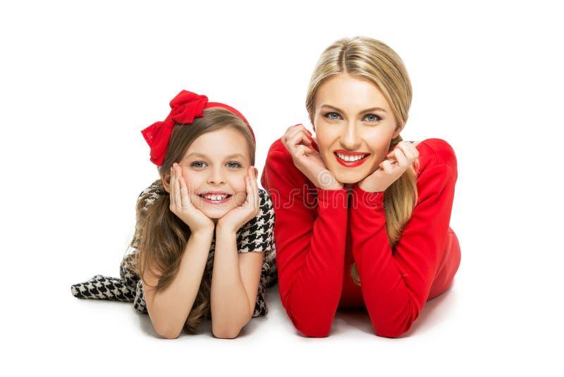 Mooie moeder en dochter stock afbeeldingen