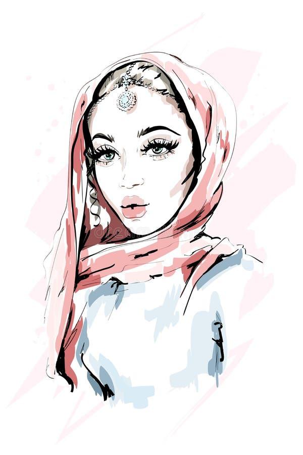 Mooie moslimvrouw die hijab dragen De vrouwenportret van de manier Modieuze Dame schets stock illustratie