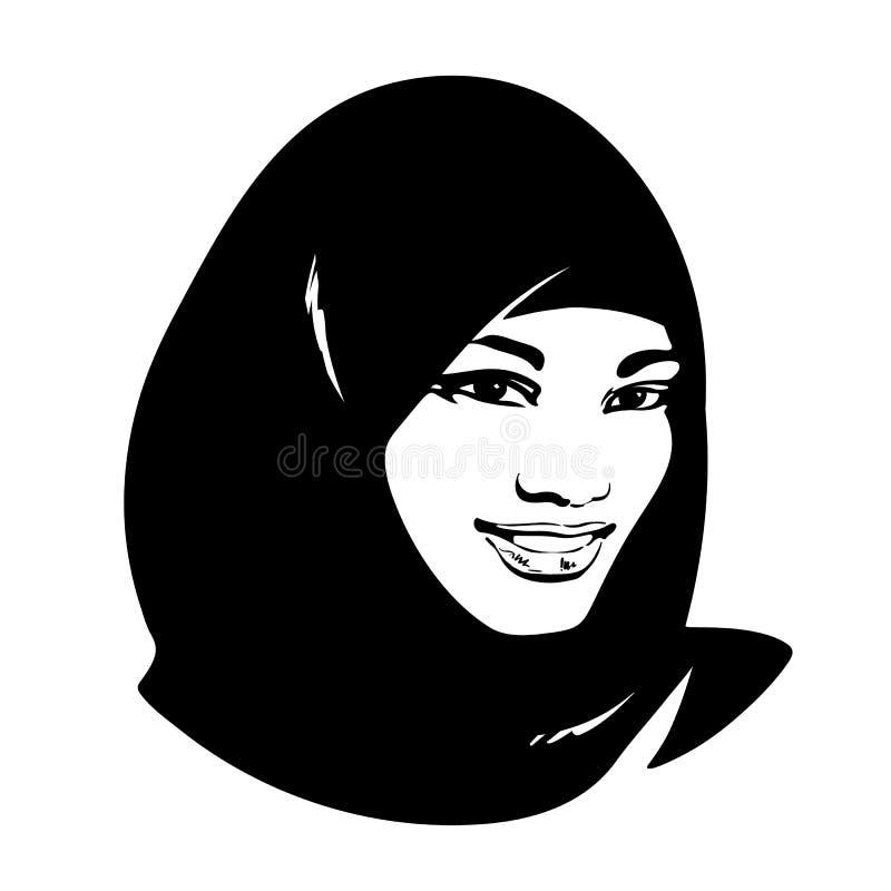 Mooie moslimvrouw in hijab stock illustratie