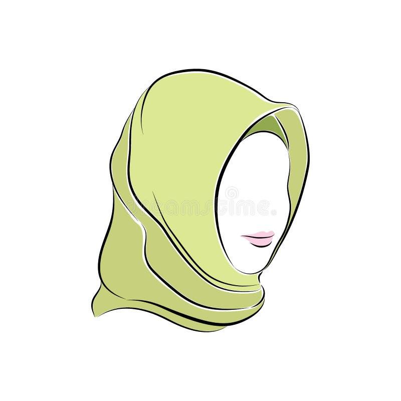 Mooie moslimvrouw in hijab op haar hoofd stock illustratie