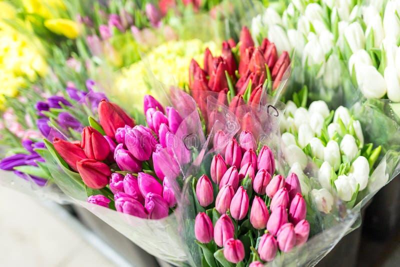 Mooie multicolored bloemboeketten Diverse verse tulpen bij bloemwinkel In het groot of kleinhandelsbloemopslag Installatiepakhuis stock afbeeldingen