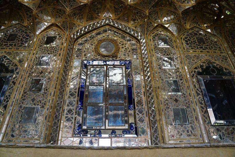 Mooie muur van het Paleis van Chehel Sotoun in Isphahan, Iran royalty-vrije stock foto