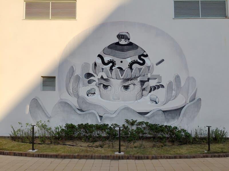 Mooie Muurschilderinggraffiti in Meriken-Park, Kobe royalty-vrije stock foto
