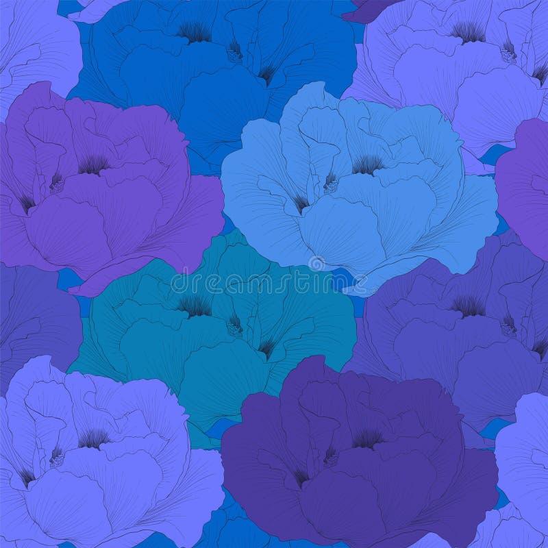 Mooie naadloze achtergrond met arborea van Paeonia van de bloemeninstallatie (Boompioen) met stam en bladeren vector illustratie