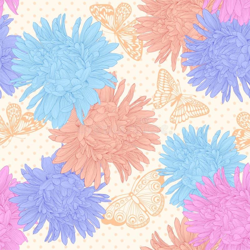 Mooie naadloze achtergrond met boeketbloemen stock illustratie