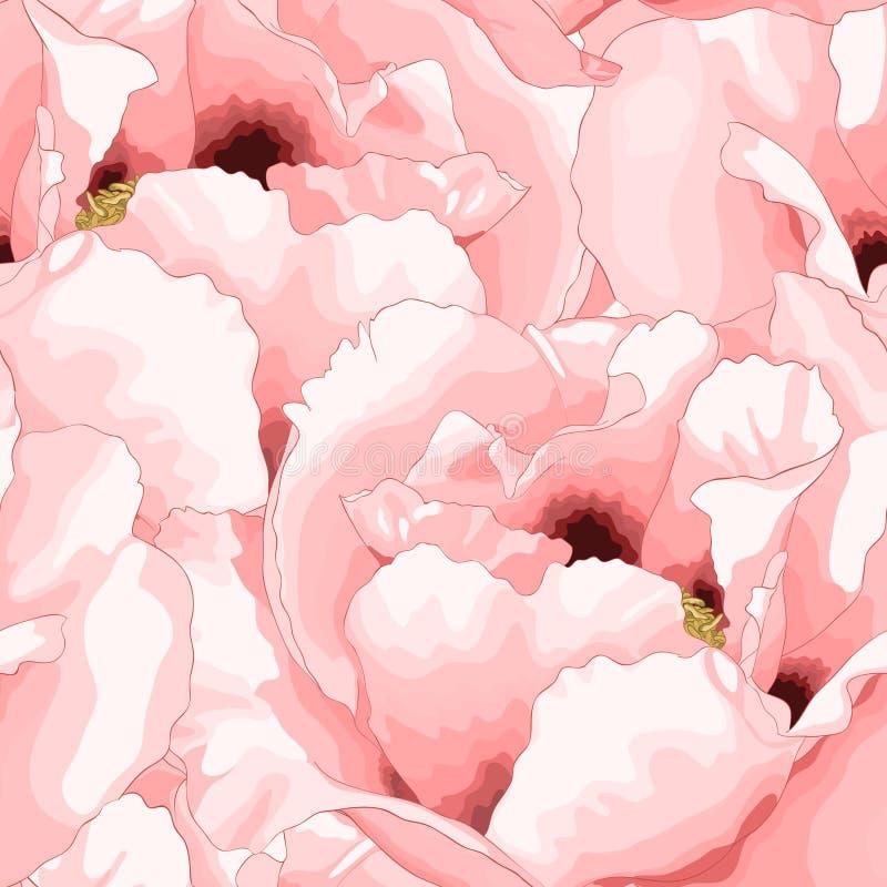 Mooie naadloze achtergrond met roze bloemen stock illustratie