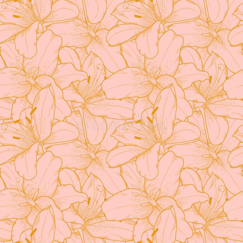 Mooie naadloze achtergrond met roze lelies han stock illustratie