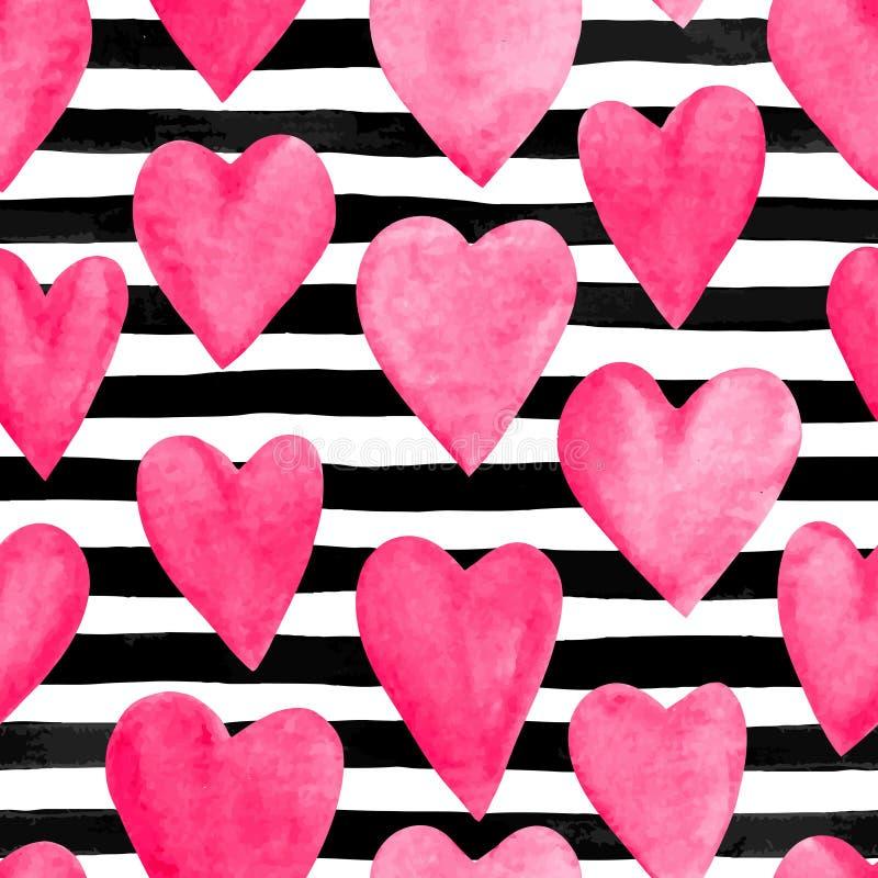 Mooie naadloze achtergrond met roze waterverfharten op horizontale inkt, zwart-witte strepen stock illustratie