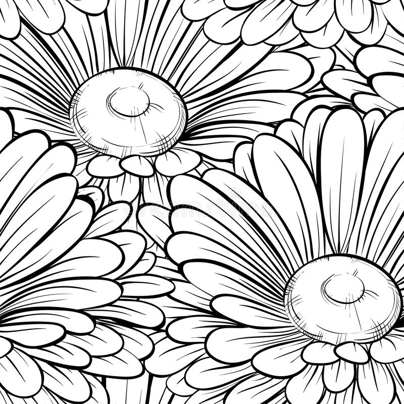 Mooie naadloze achtergrond met zwart-wit zwart-witte bloemen. Hand-drawn contourlijnen en slagen. royalty-vrije illustratie