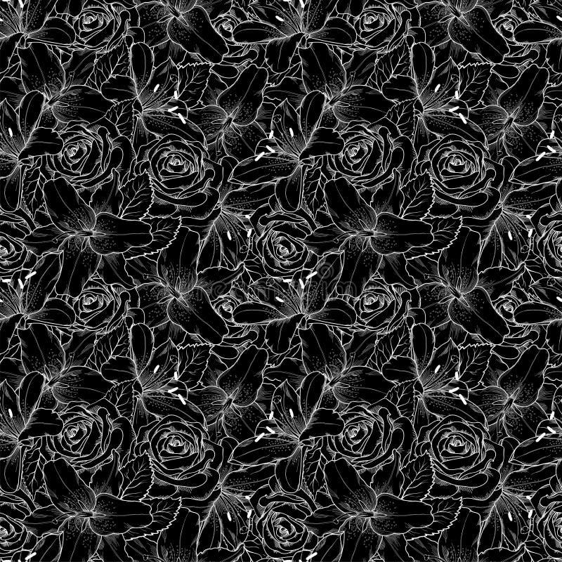 Mooie naadloze achtergrond met zwart-witte lelie en rozen Hand-drawn contourlijnen en slagen royalty-vrije illustratie