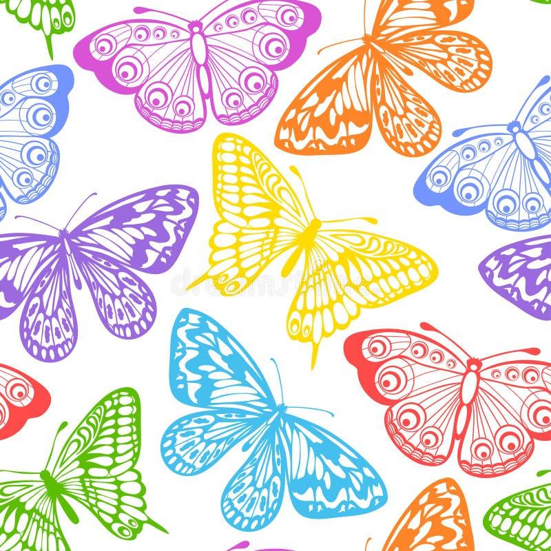 Mooie naadloze achtergrond van vlinders multi gekleurd op een wit. vector illustratie