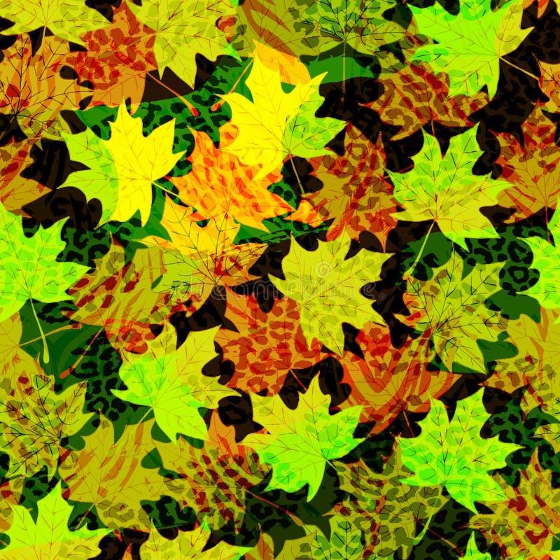 Mooie naadloze patroonachtergrond met de herfstbladeren en dierlijke drukken Perfectioneer voor behang, Web-pagina achtergronden, royalty-vrije illustratie