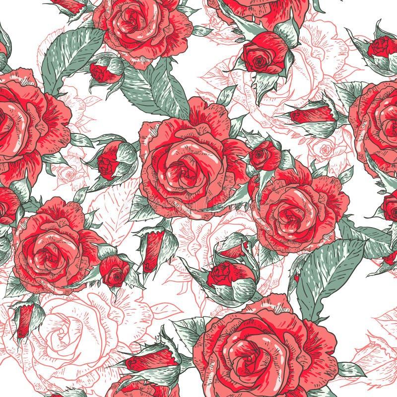 Mooie Naadloze Rose Background stock illustratie