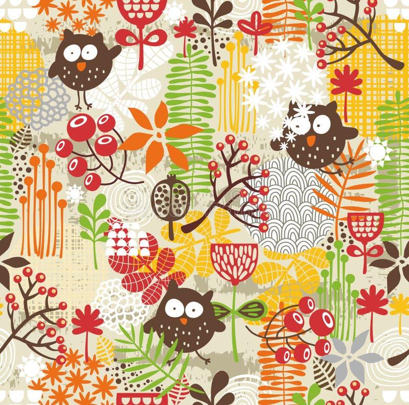 Mooie naadloze textuur met uilen. stock illustratie