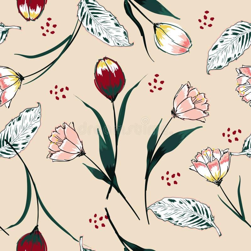 Mooie Naadloze vectorachtergrond met kleurrijke tulpen Hand vector illustratie