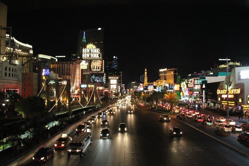 Mooie nachtmening van aangestoken straat van Las Vegas Mooie landschapsachtergronden royalty-vrije stock fotografie