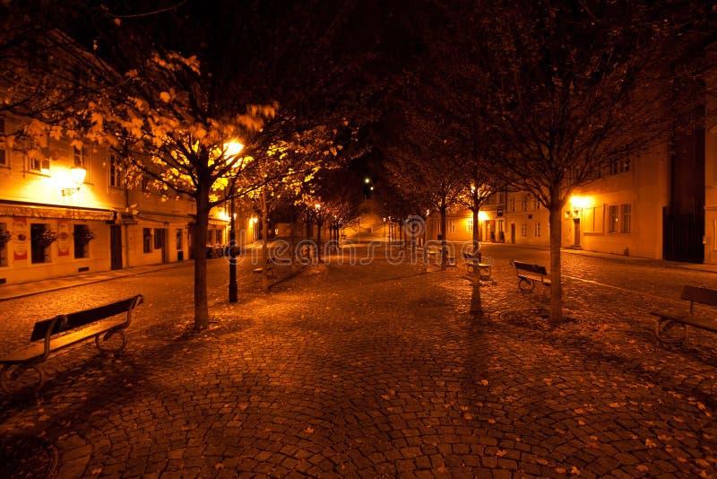 Mooie nachtmening van de straat in Praag royalty-vrije stock afbeeldingen