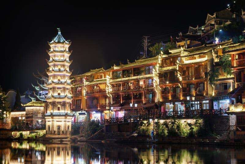 Mooie nachtmening van de Wanming-Pagode, de Oude Stad van Phoenix royalty-vrije stock fotografie