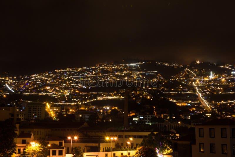 Mooie nachtmening van het kapitaal van Madera Funchal, Portugal royalty-vrije stock foto
