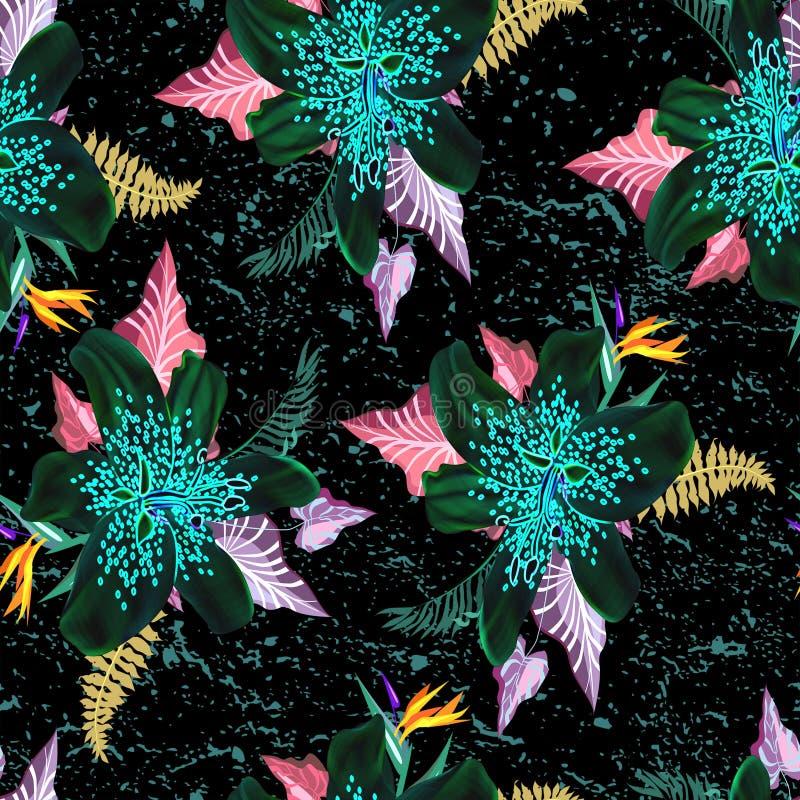 Mooie neonbloem met blad naadloos patroon royalty-vrije illustratie