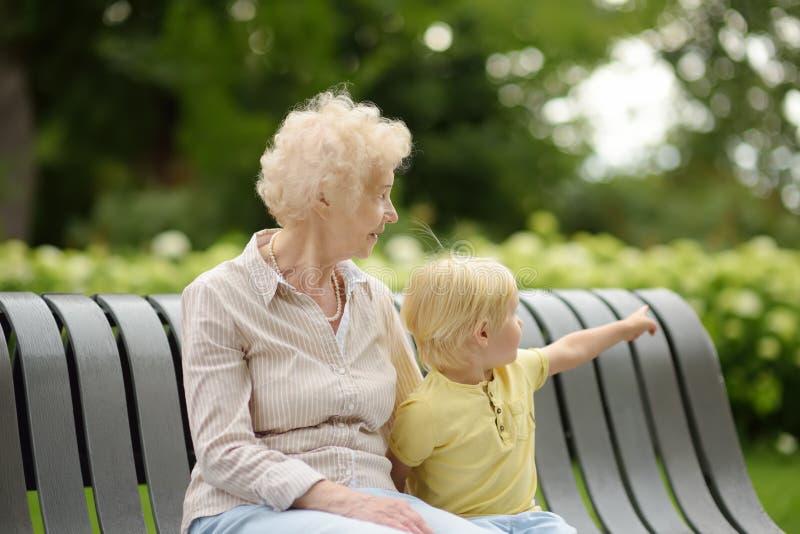 Mooie Oma En Haar Weinig Kleinzoon Die Samen In Park Lopen