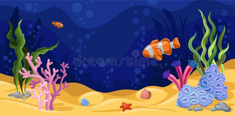 Mooie onderwaterscène met zeewier, mariene het levensvector vector illustratie