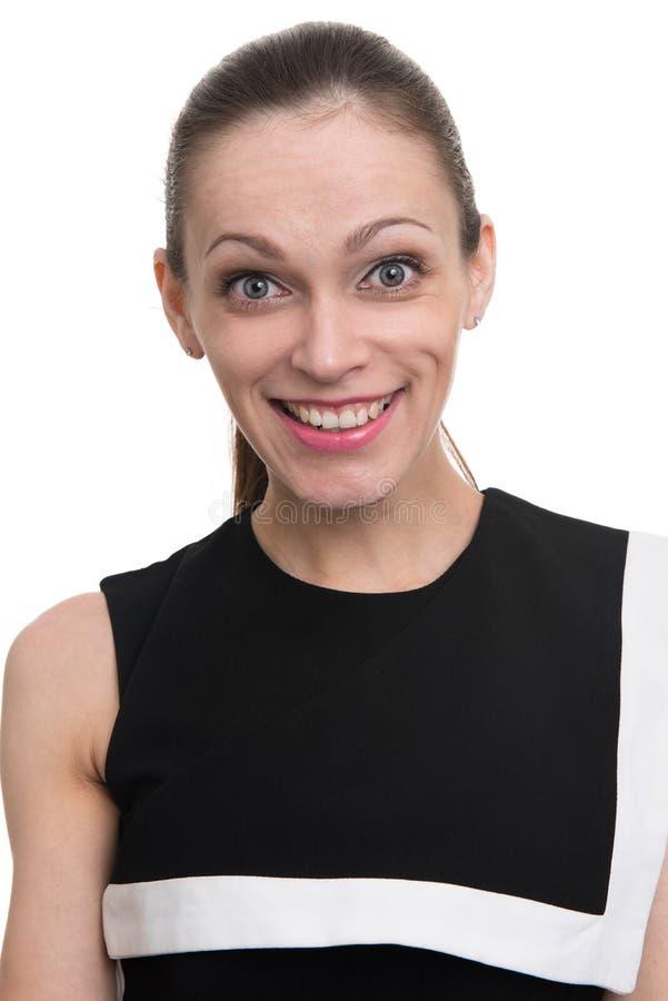 Mooie opgewekte vrouw die camera, het toothy glimlachen bekijken stock afbeeldingen