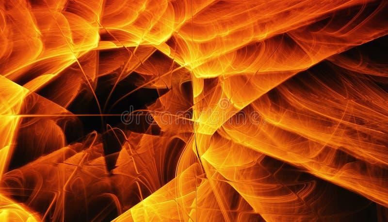 Mooie oranje achtergrond van gloeiende deeltjes en lijnen met diepte van gebied en bokeh 3d 3d illustratie, geeft terug royalty-vrije stock fotografie