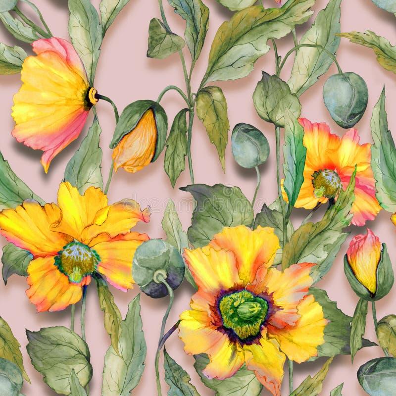 Mooie oranje Welse papaverbloemen met groene bladeren op beige achtergrond Naadloos BloemenPatroon Het Schilderen van de waterver royalty-vrije illustratie