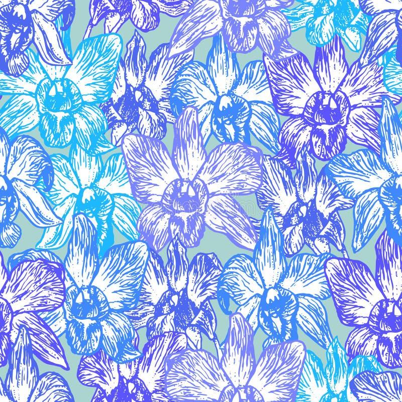 Mooie Orchidee Hand getrokken Blauwe lilac purpere contour op Blauw achtergrondschets naadloos patroon, het ontwerp in backd van  royalty-vrije illustratie
