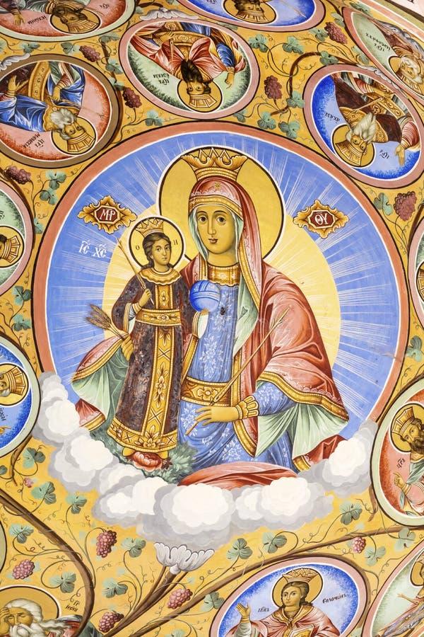Mooie oude fresko op de muur bij Rila-Kloosterkerk royalty-vrije stock foto
