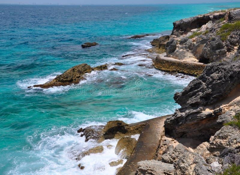 Mooie overzees. eiland Isla Mujeres (het Eiland van Vrouwen) stock fotografie