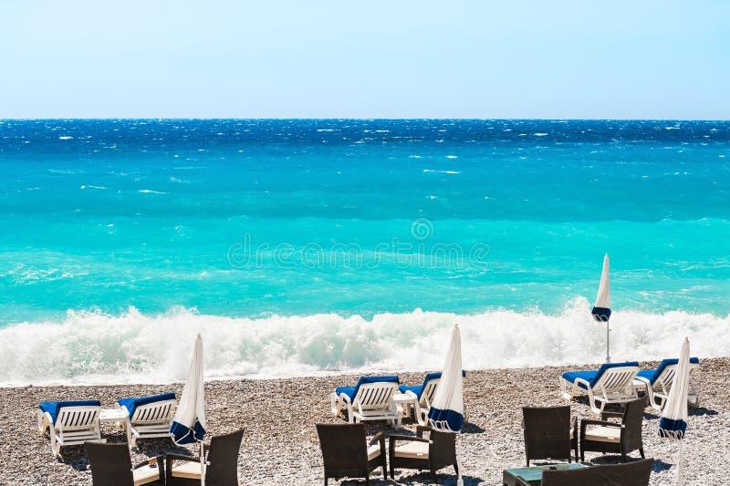 Mooie overzeese kust in Nice, Frankrijk royalty-vrije stock foto's