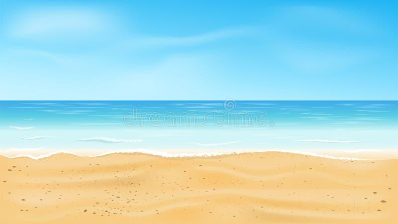 Mooie overzeese mening, Tropische strand vectorachtergrond stock fotografie