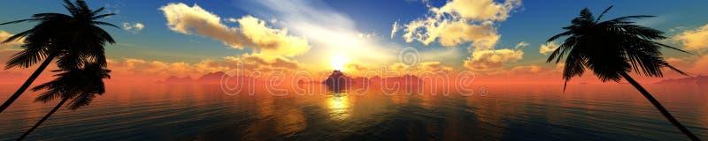 Mooie overzeese zonsondergang, panorama van de oceaan stock foto