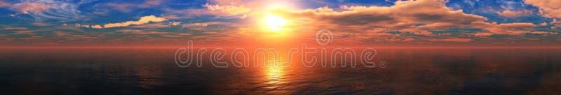 Mooie overzeese zonsondergang, panorama van de oceaan royalty-vrije stock fotografie