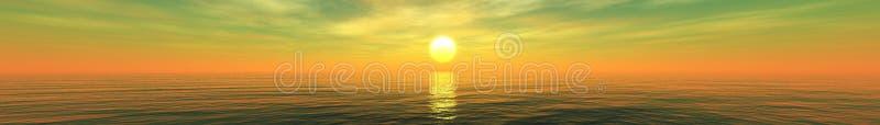 Mooie overzeese zonsondergang, wolken en zon boven het water royalty-vrije stock afbeelding