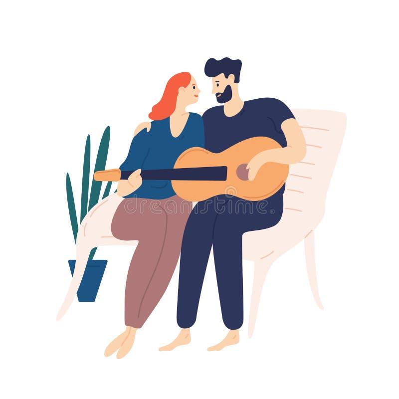 Mooie paarzitting op bank en het spelen gitaar Paar van de jonge aanbiddelijke mens en vrouw die en het zingen liederen knuffelen royalty-vrije illustratie