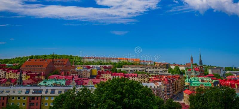 Mooie panoramamening van Gothenburg van de binnenstad stock foto's