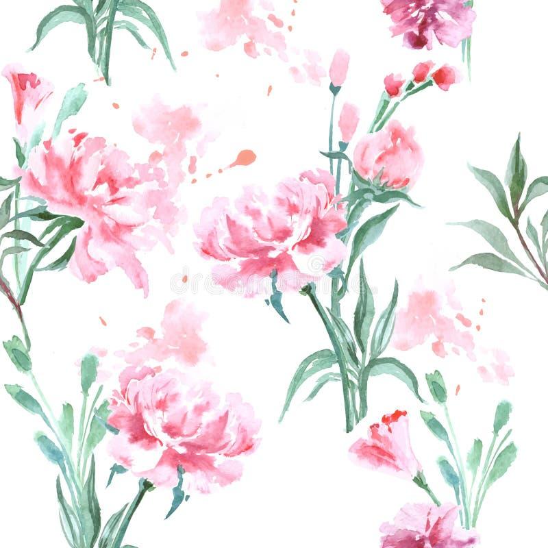 Mooie Pioenenbloemen, Waterverf die naadloos patroon schilderen vector illustratie