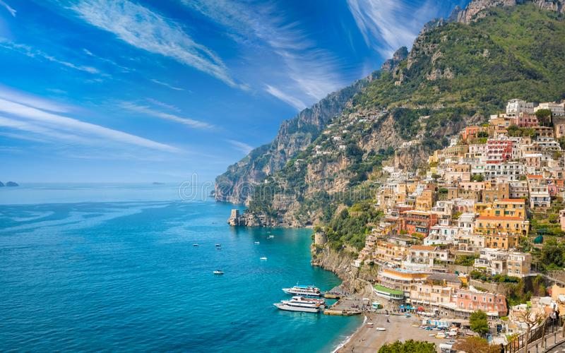 Mooie Positano op Amalfi Kust in Campania, Italië royalty-vrije stock afbeeldingen