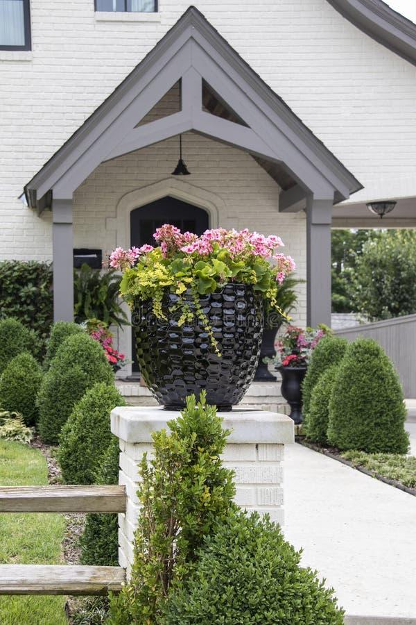 Mooie pot van roze geraniums die op een omheiningspost zitten voor een keurig gemodelleerde witte geschilderde ingang van het bak stock foto's