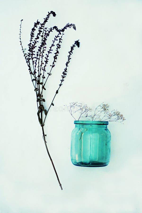Mooie purpere bloemen Stilleven 1 Boeket van wilde bloemen in een glasvaas De bloemen van Nice in de flessen Lijst wordt verfraai royalty-vrije stock fotografie