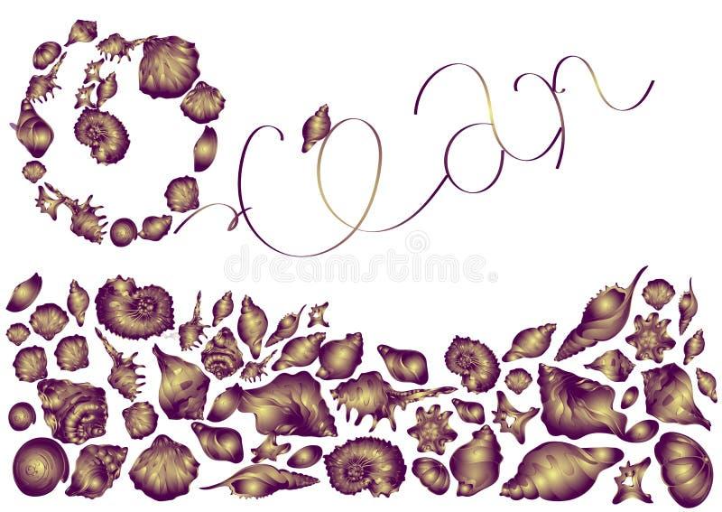 Mooie purpere shells van verschillende vormen, het mariene leven op witte  achtergrond elegante uitnodigingskaart royalty-vrije illustratie
