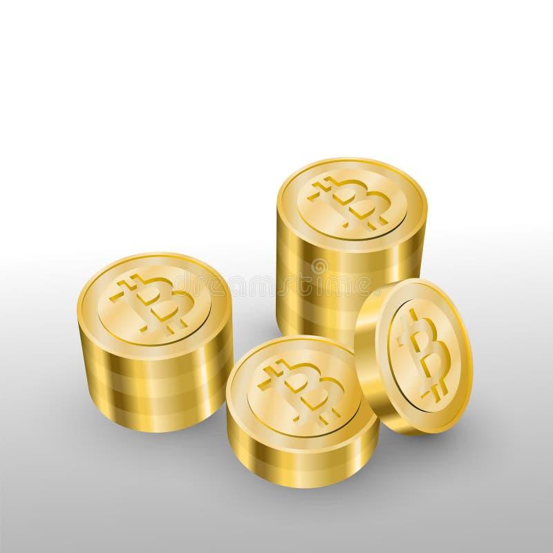 Mooie realistische cryptocurrencyvector van gouden die bitcoins op witte achtergrond wordt opgestapeld stock illustratie