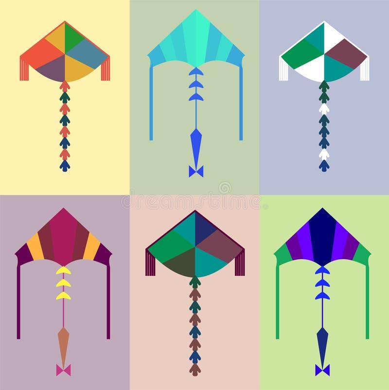 Mooie reeks van vlieger Vector illustratie Vlakke stijl Sluit omhoog van gebraden ei in pan op zwarte achtergrond royalty-vrije stock afbeelding