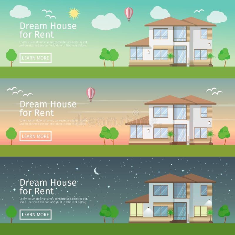 Mooie reeks vlakke vectorwebbanners op het thema modern Real Estate stock illustratie