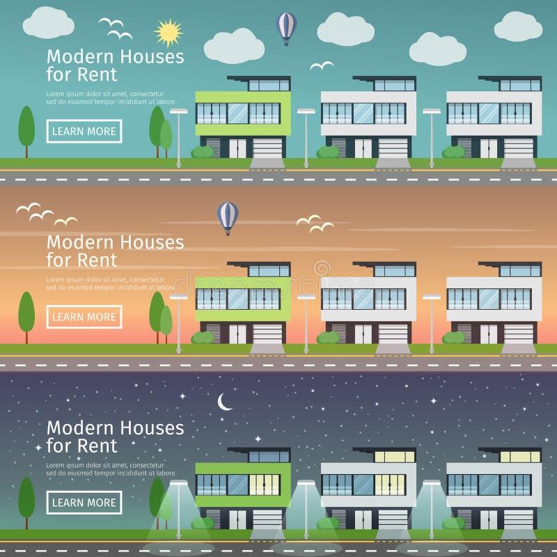 Mooie reeks vlakke vectorwebbanners op het thema modern Real Estate royalty-vrije illustratie